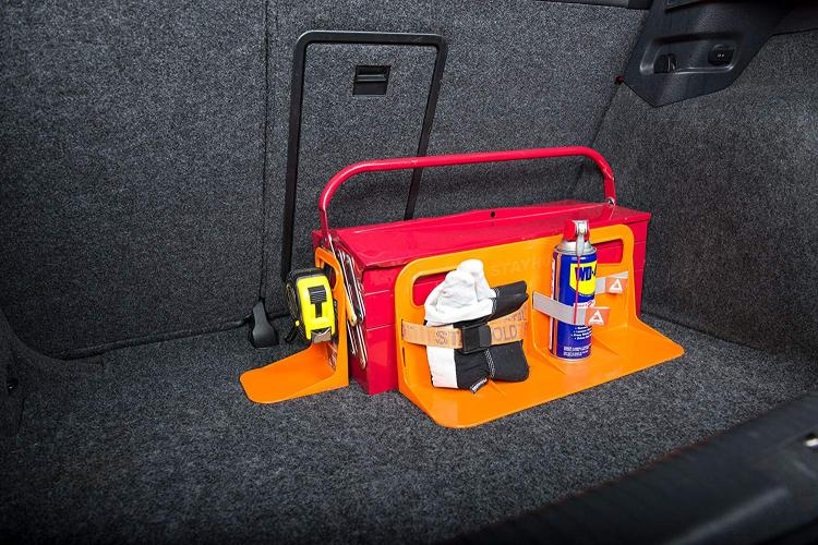 Stayhold cargo hold trunk organizer, prevents stuff from rolling around in back of SUVS and in trunks