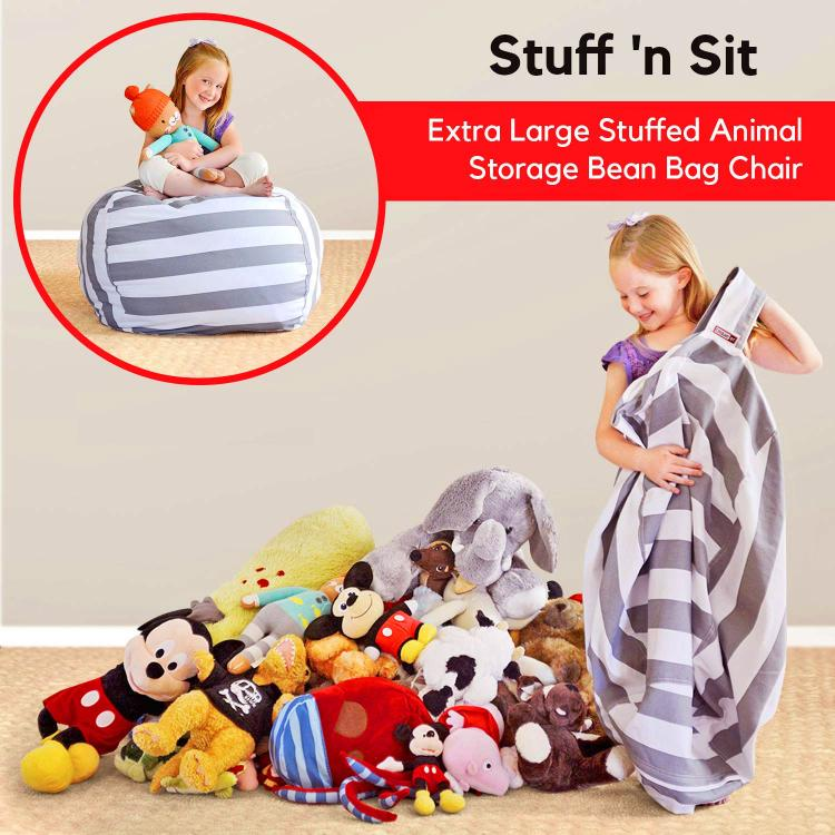 Fur Real Stuffed Animals, This Bean Bag Chair Lets Your Child Store Their Stuffed Animals Inside Of It