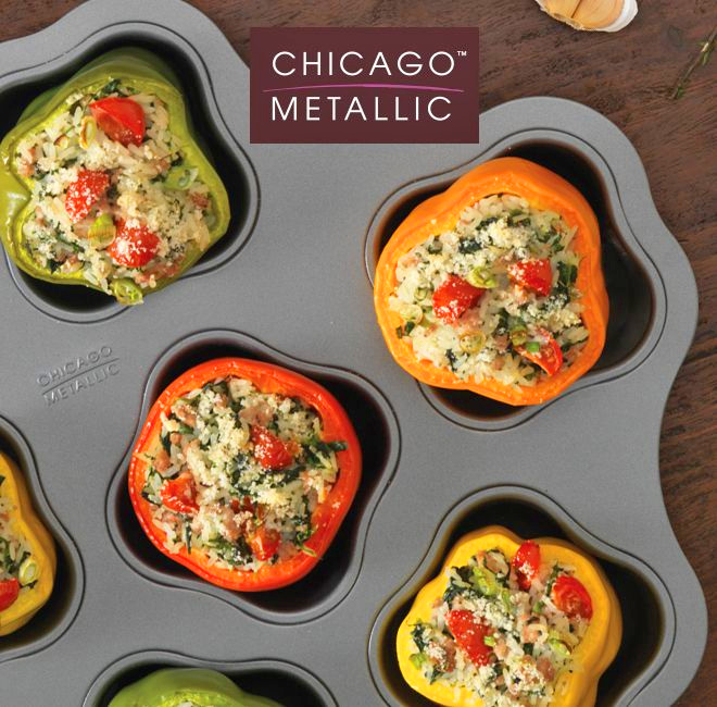 Chicago Metallic Stuff It Up Pan - Stuffed Peppers oven pan prevents peppers from tipping over