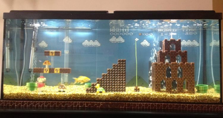 Super Mario Aquarium - NES Mario Fish Tank Castle - Mario underwater level made in aquarium