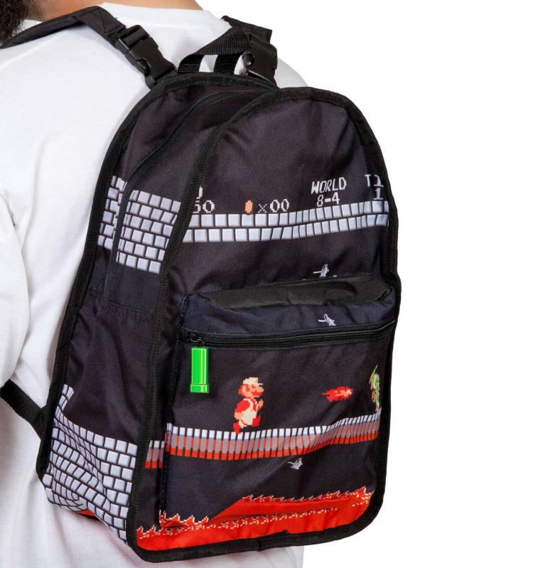 cad4945e7e Super Mario Bros Reversible Backpack Turns From Daylight To Castle