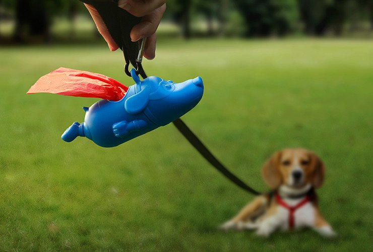 Mighty Dog Dog Waste Holder - Superman Dog Poop Bag Dispenser