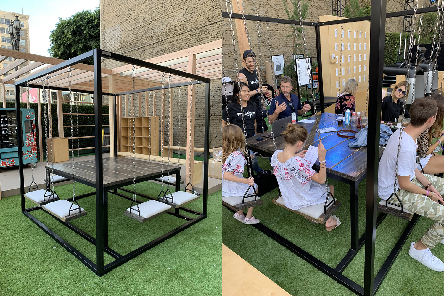 Swing Tables Let You Swing While You Eat or Have a Meeting