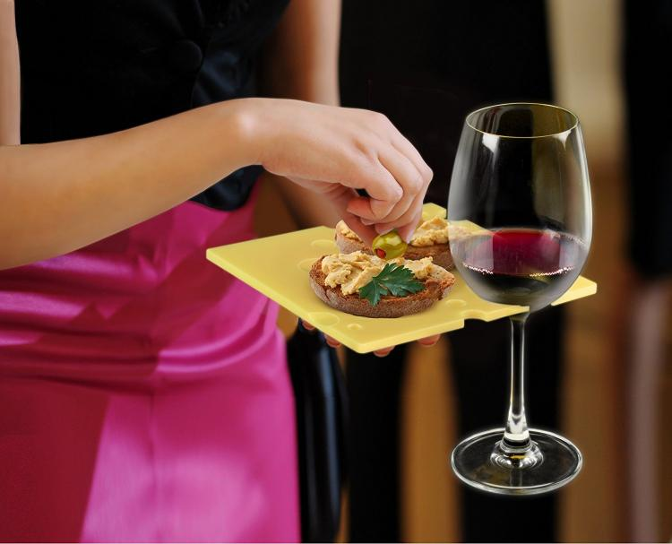 SWISS Dish - Swiss Cheese Shaped Party Plates That Can Hold Your Wine