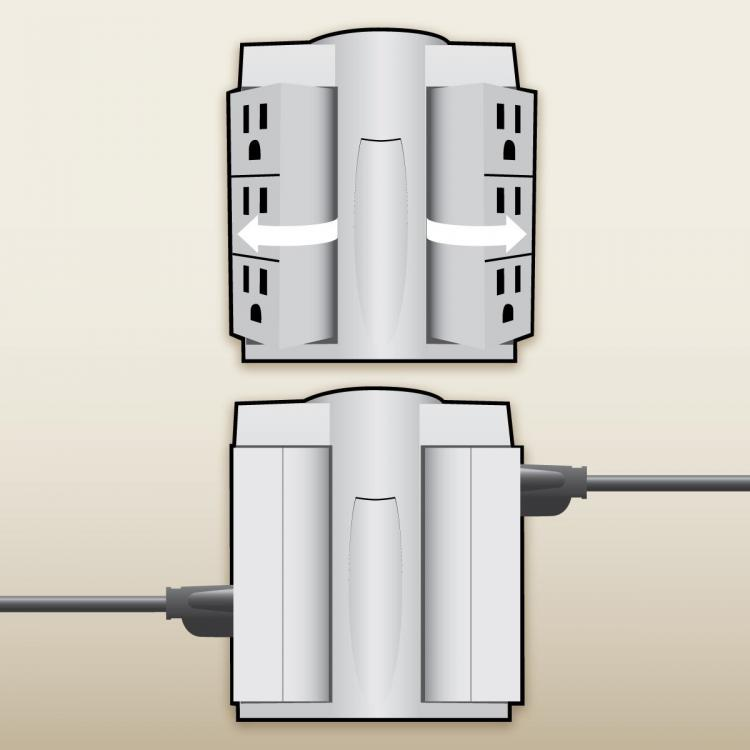 Globe Electric Space Plug - Swivel Surge Protector - Swiveling Surge Protector folds flat against the wall to save room