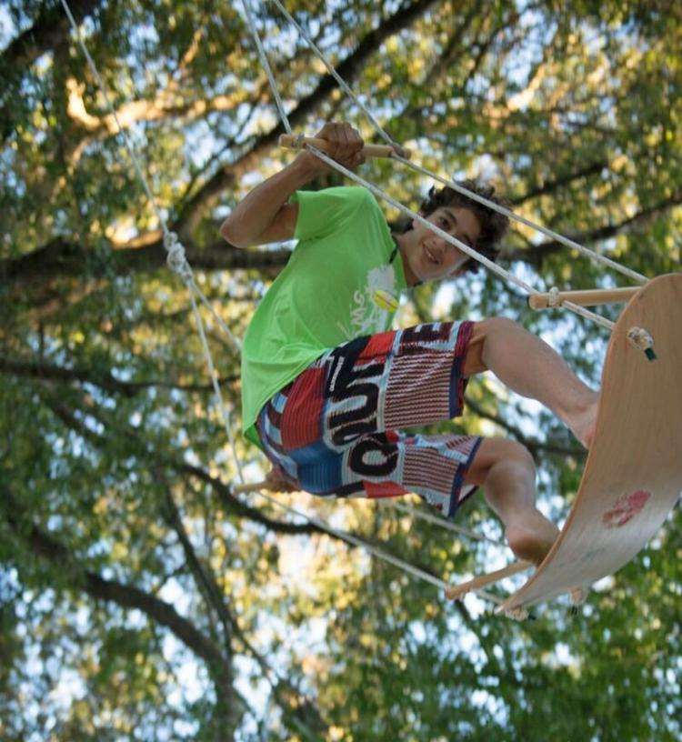 Swurfer - Skateboard shaped omni-directional tree swing
