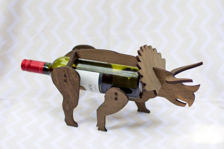 Triceratops Dinosaur Wine Bottle Holder