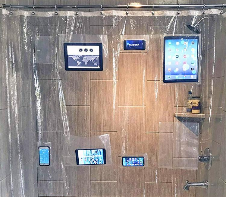 Tablet and Smart Phone Holding Shower Curtain - Shower curtain phone holder