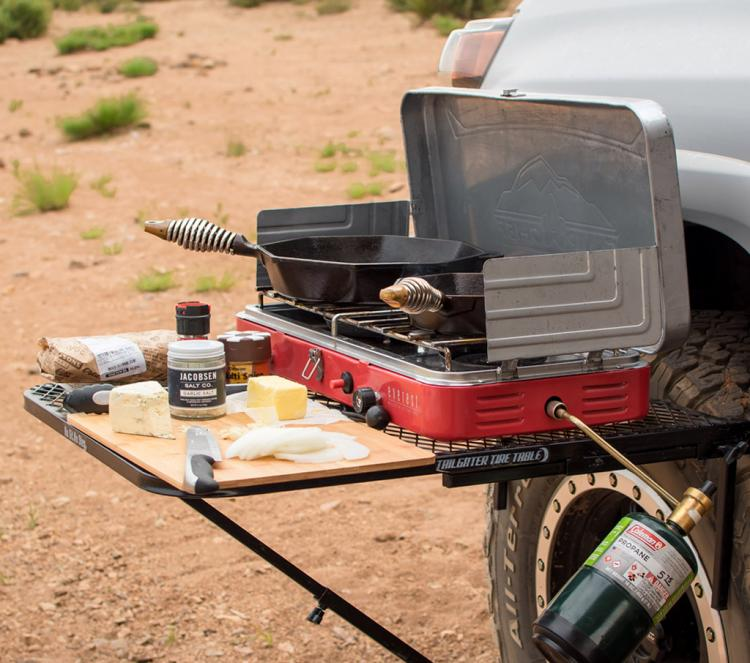 Tailgater Tire Table - Camping table attaches to car tire