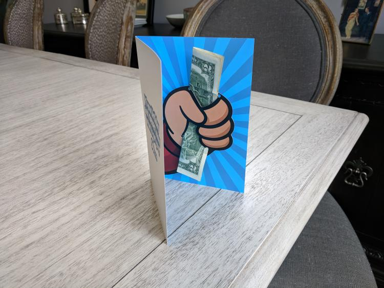 Shut up and take my money birthday card - Hand giving cash pop-up birthday card