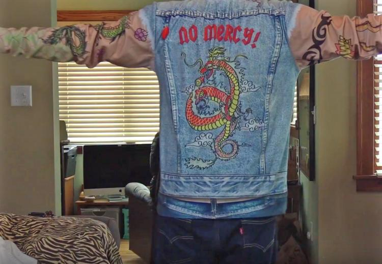 Tattoos and Jean Jacket Zip-up Hoodie - Full print tattoo and denim vest costume hoodie - Funny biker hoodie