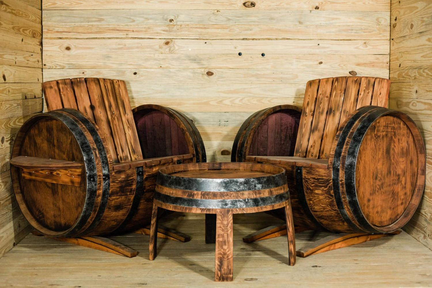 Authentic French Wine Barrel Patio Deck 3 Piece Set 2 Chairs and 1 Table