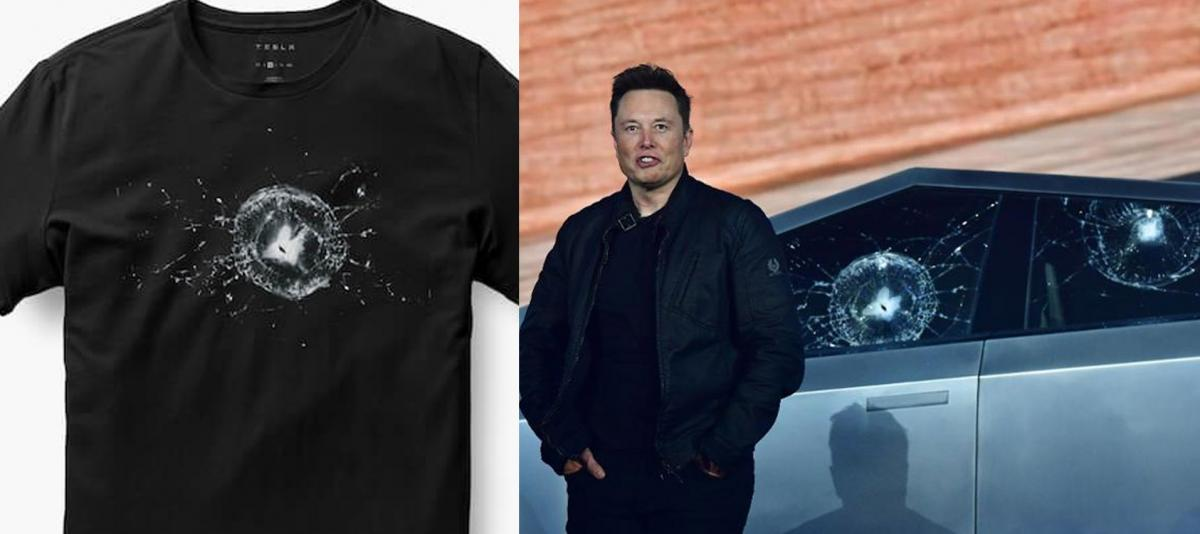 Tesla Cybertruck Smashed Window T-Shirt - Cybertruck Bulletproof  cracked window Tee