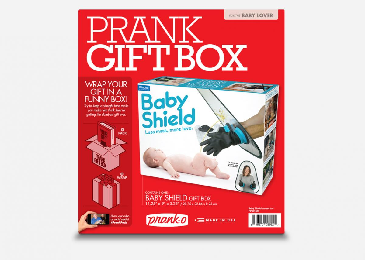 Baby Shield Prank Box - Funny Bubble-boy laboratory rubber arms protect you from baby messes