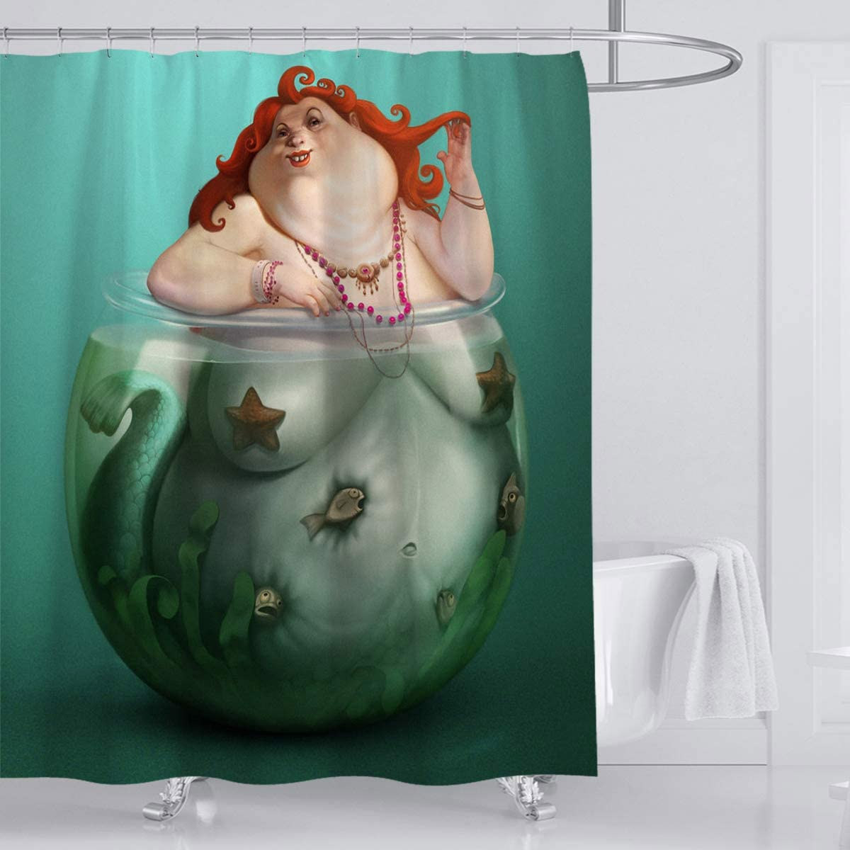 The Big Mermaid Shower Curtain - Fat mermaid funny shower curtain