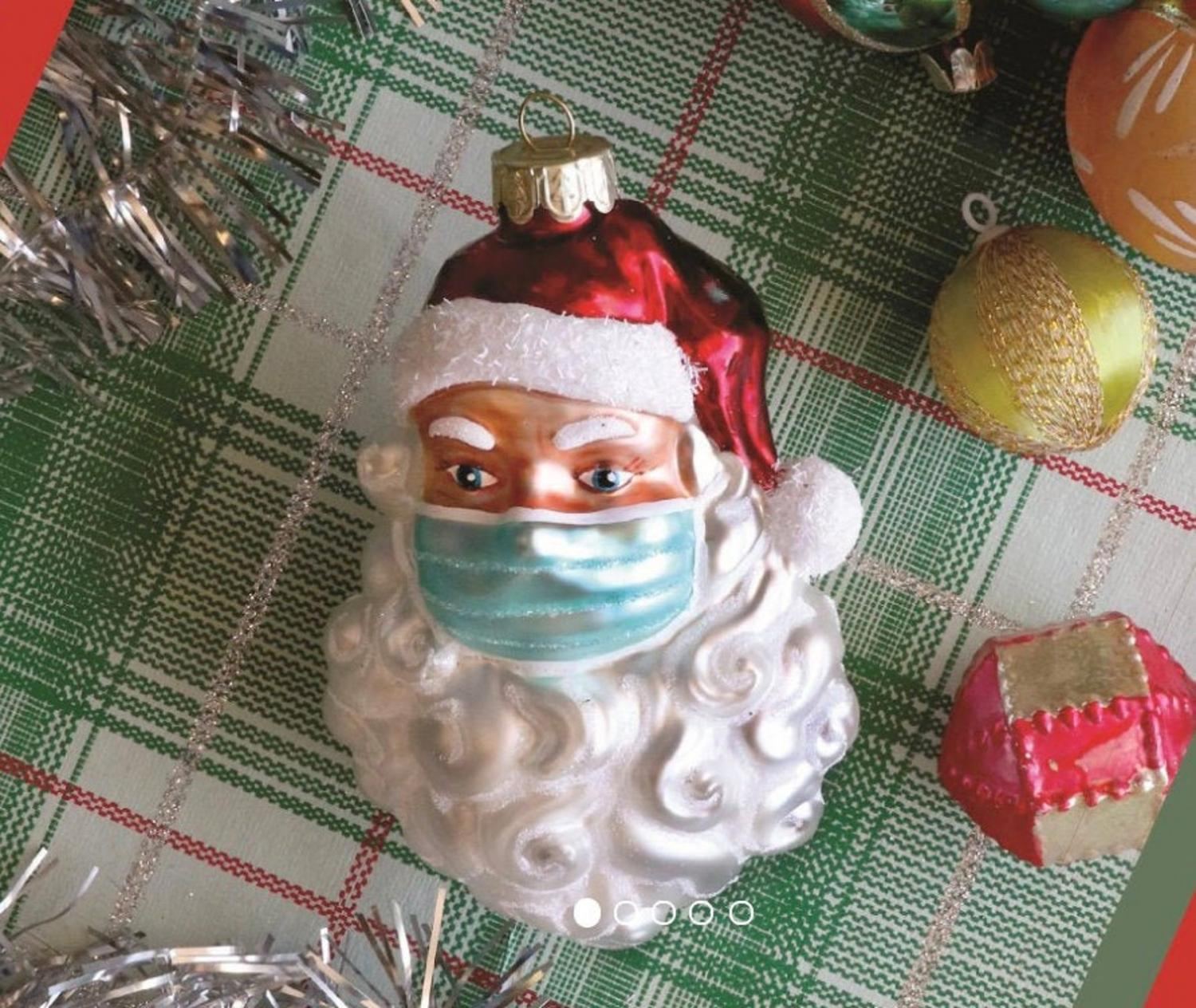 Santa In a Facemask 2020 Christmas Ornament