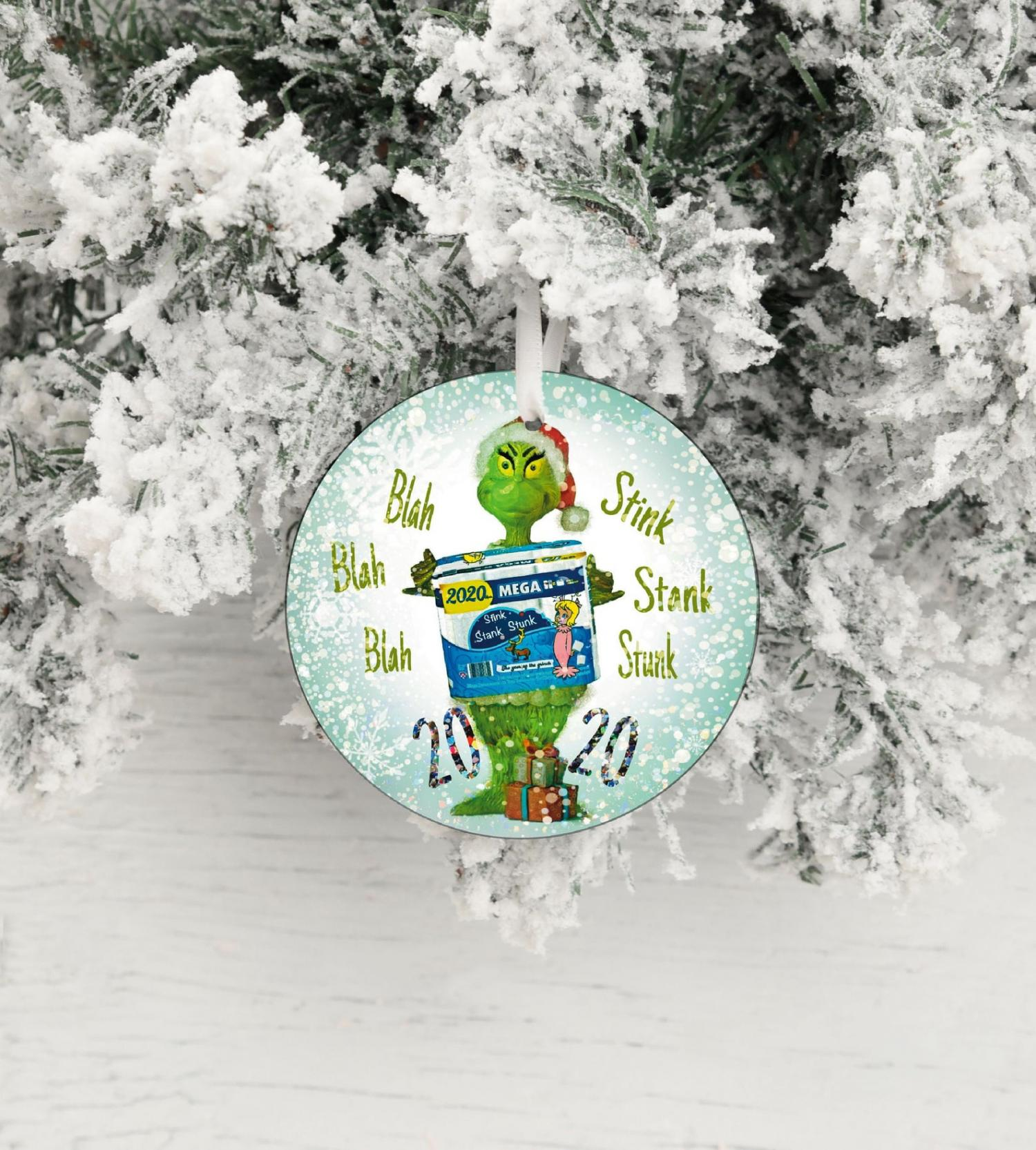 The Grinch Holding Toilet Paper Rolls 2020 Christmas Ornament