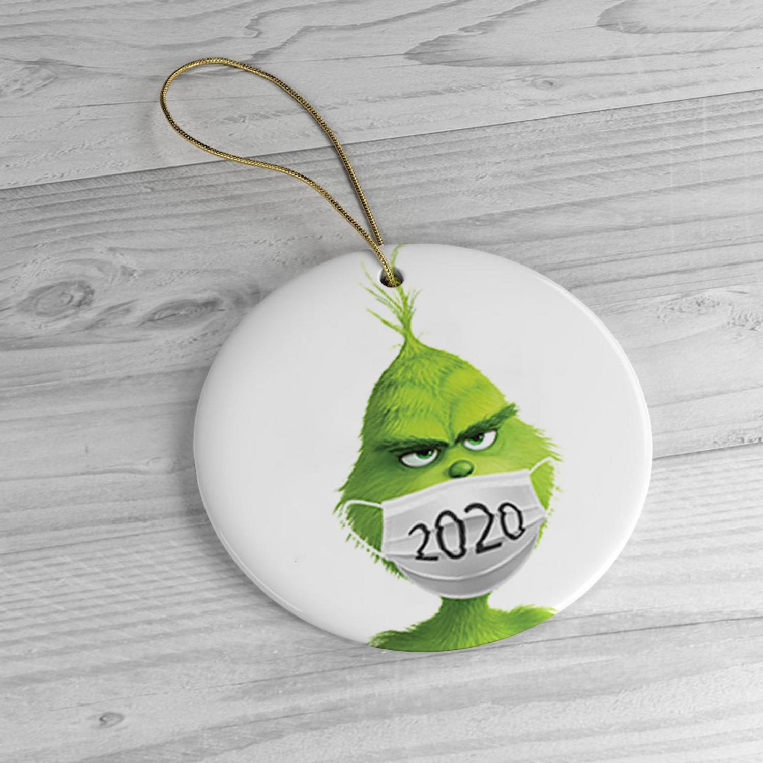 The Grinch In a Facemask 2020 Christmas Ornament