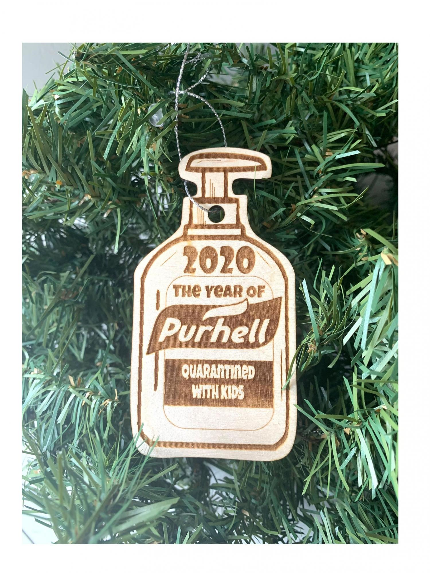 2020 The Year Of Purehell - Quarantined With Kids Funny Christmas Ornament