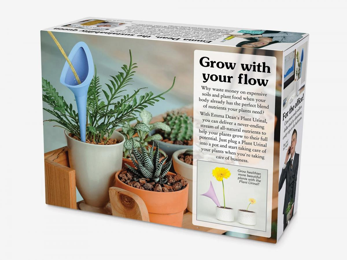 The Plant Urinal Allows You To Pee Right Into Your Plants, Urinal For Plants Prank Gift Box