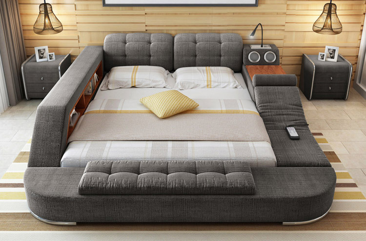 The ultimate bed with integrated massage chair speakers for 1x super comfort recliner chaise