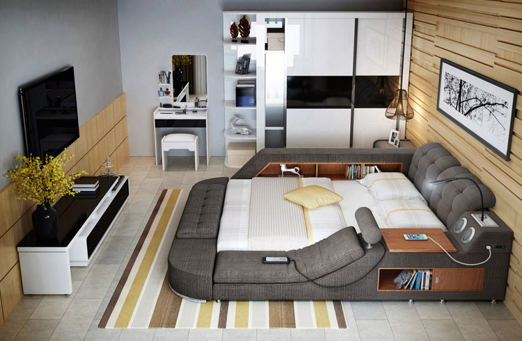 The Ultimate Bed With Integrated Massage Chair, speakers, and desk
