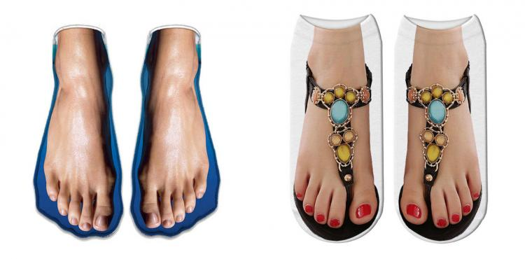 Human Feet In Sandals Socks For People With Ugly Feet - Funny women's feet in flip-flops print socks