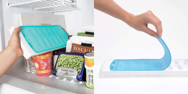 Ice cube tray with silicone flexible lid - covered ice maker tray to prevent spilling water
