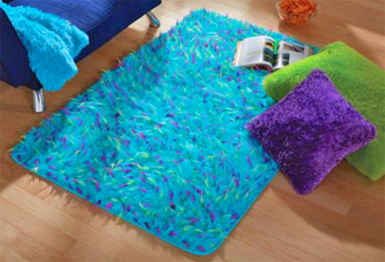 Blue Furry Floor Rug That Looks Like Sully From Monsters Inc - Sully Blue Furry Rug - RIP Sulley