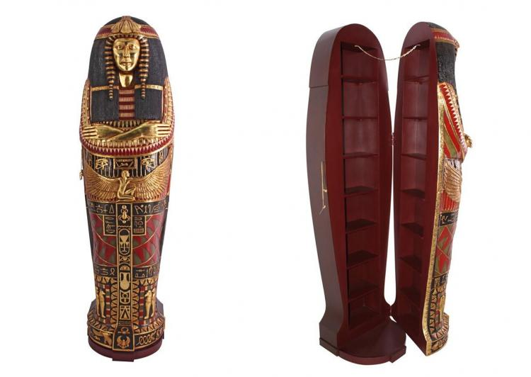 Life-size Queen Ankhesenamun Egyptian Mummy Hidden Bookcase - Giant Queen Ankhesenamun coffin secret storage shelves