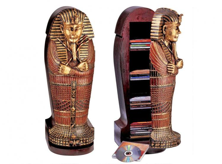Mini King Tut Sarcophagus Mummy Coffin DVD Holder - Secret storage shelves