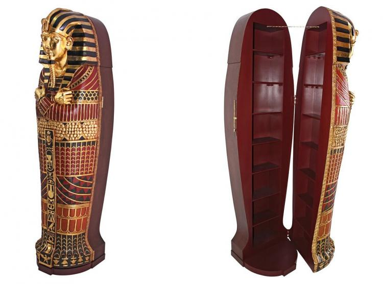 Life-size King Tut Sarcophagus Coffin Hidden Bookcase - Giant King Tutankhamun coffin secret storage shelves