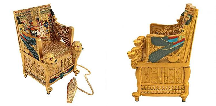 King Tut Golden Throne Chair Replica Jewelry Box