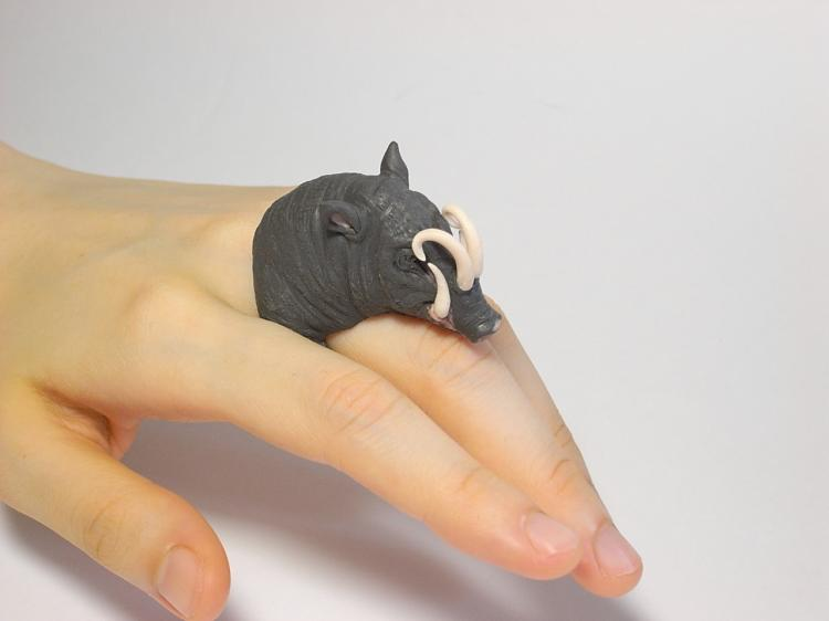Cute Animal Rings Hug Your Fingers - Boar
