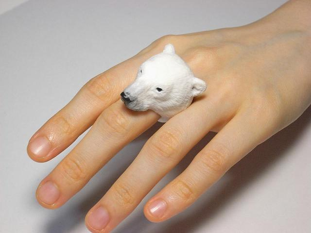 Cute Animal Rings Hug Your Fingers - Polar Bear