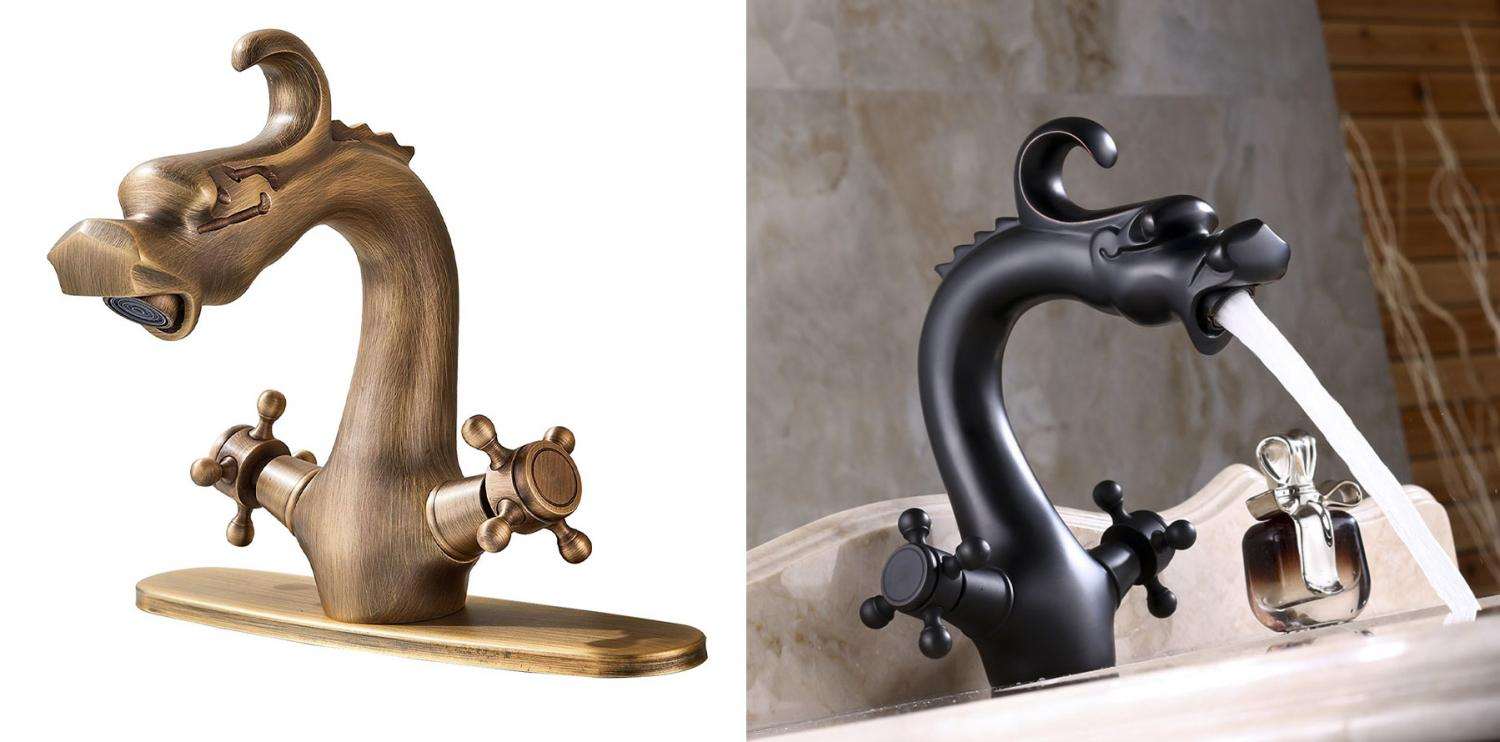 Dragon faucet - Antique brass dragon faucet - black finish dragon faucet