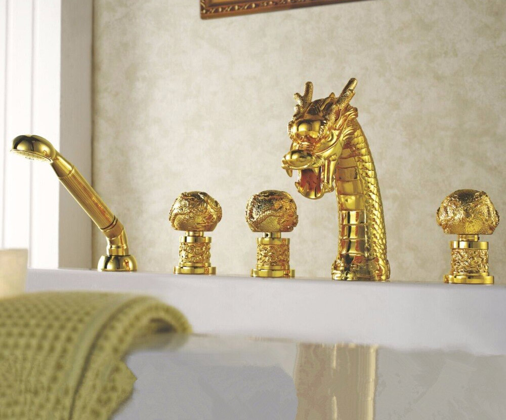 Dragon faucet - golden dragon fixture with globe handles