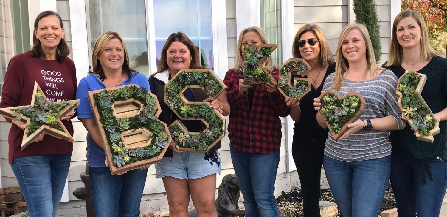 Giant Letter Shaped Planters - Wooden Monogram Letter Gardens On Front Entrance of House