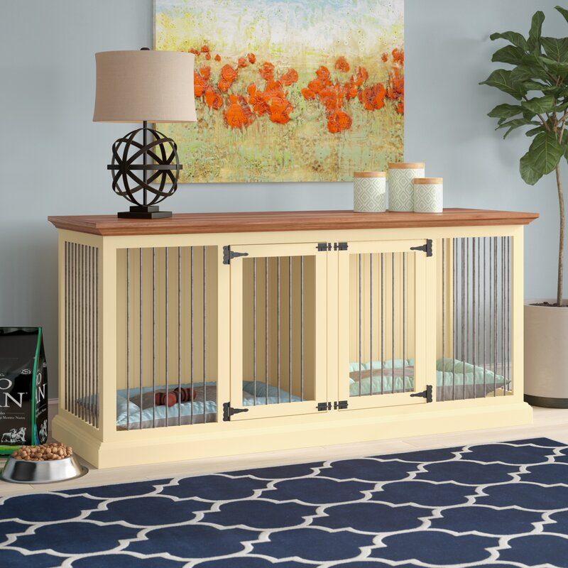 Modern Design Corner Credenza Also Doubles as a Pet Crate - Dog crate credenza table furniture combo