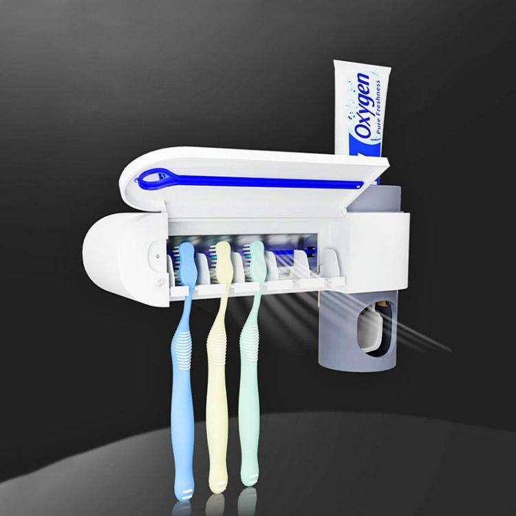 Antibacterial Toothbrush Holder Sterilizes Up To 5 Toothbrushes - Mirror mounted toothbrush sterilizer Doubles as a toothpaste dispenser