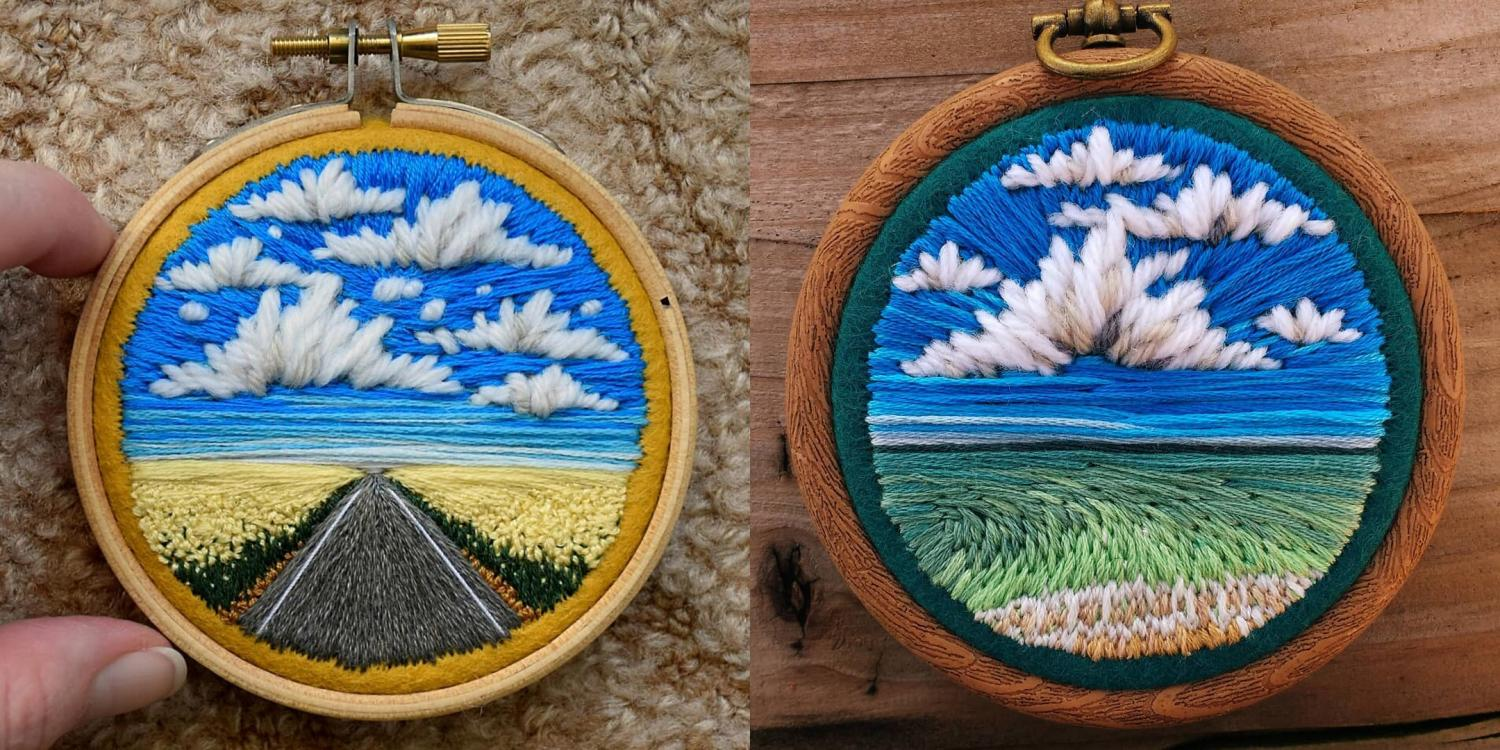 Incredible Mini Embroidery Pieces That Look Like Landscape Paintings - Best embroidery art painting