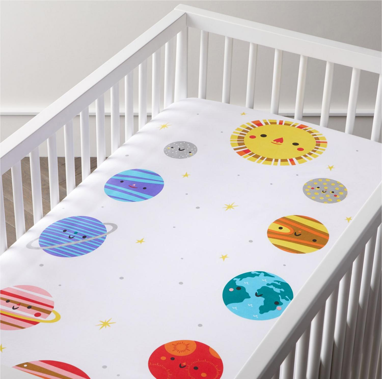 Space themed crib sheets - Helps babies and kids learn about space
