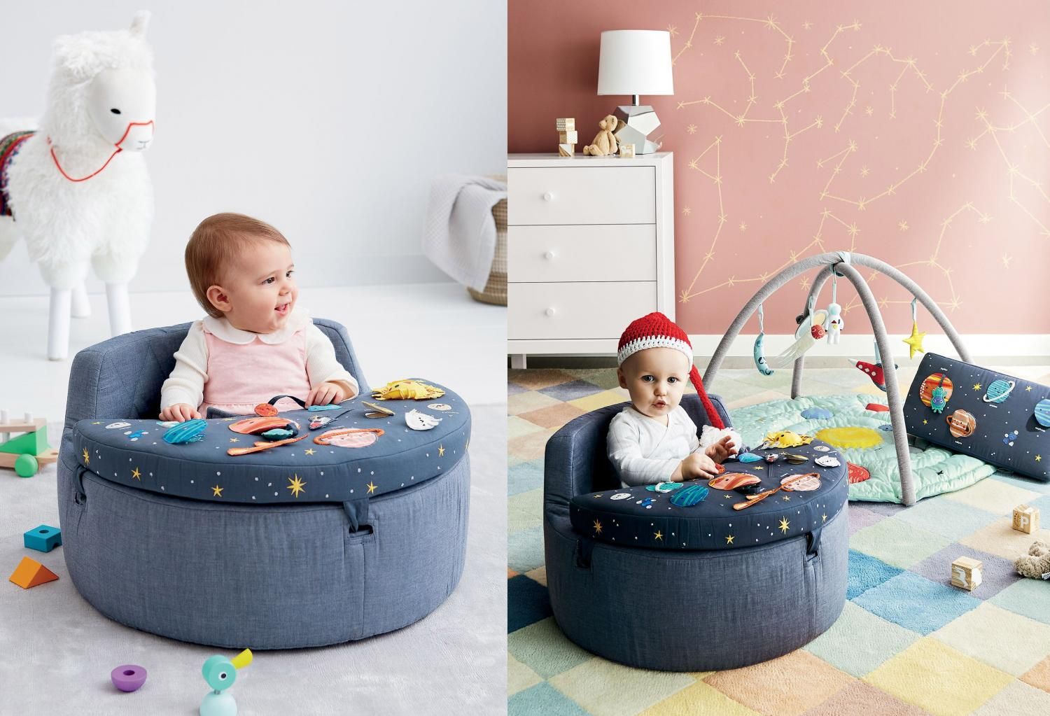 Cute Baby Activity Chair Helps Them Learn About Space And The Solar System - Deep Space Baby Activity Chair