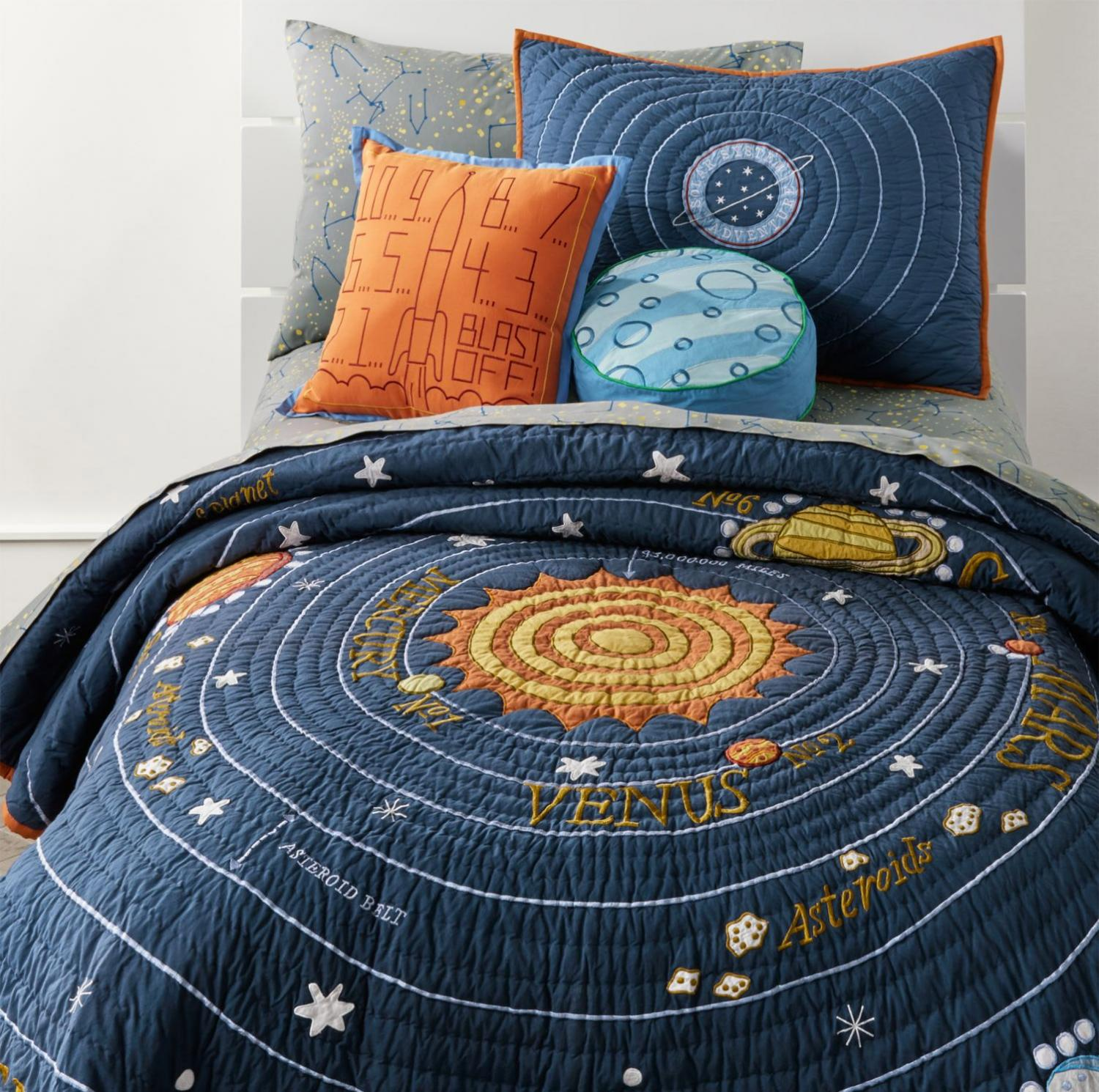 Space Themed Toddler Quilt - Helps babies and kids learn about space