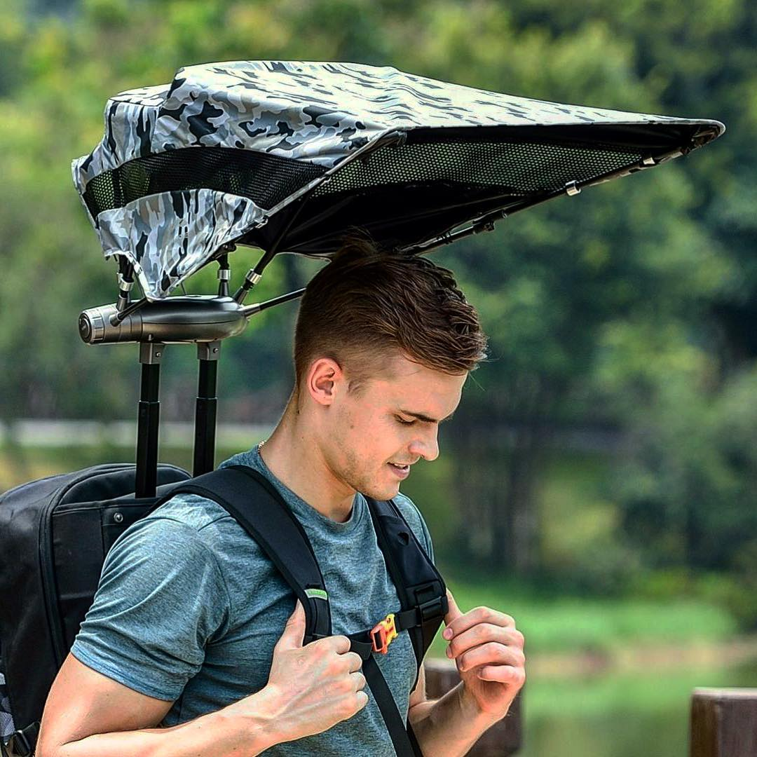 EZ Funshell Retractable Umbrella Backpack - Backpack with auto-deploying sun and rain umbrella