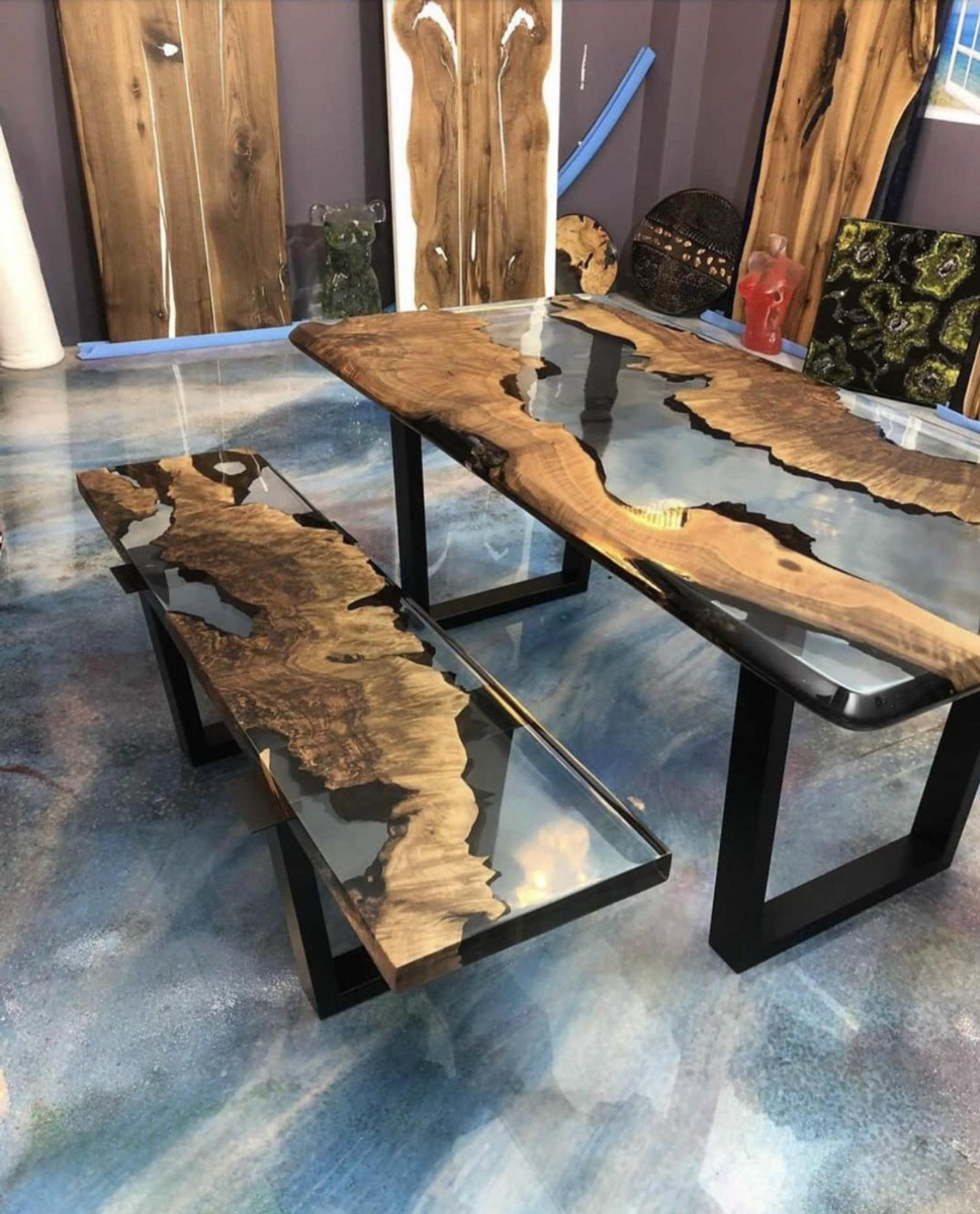 epoxy table with a bench both made with stunning transparent epoxy/resin