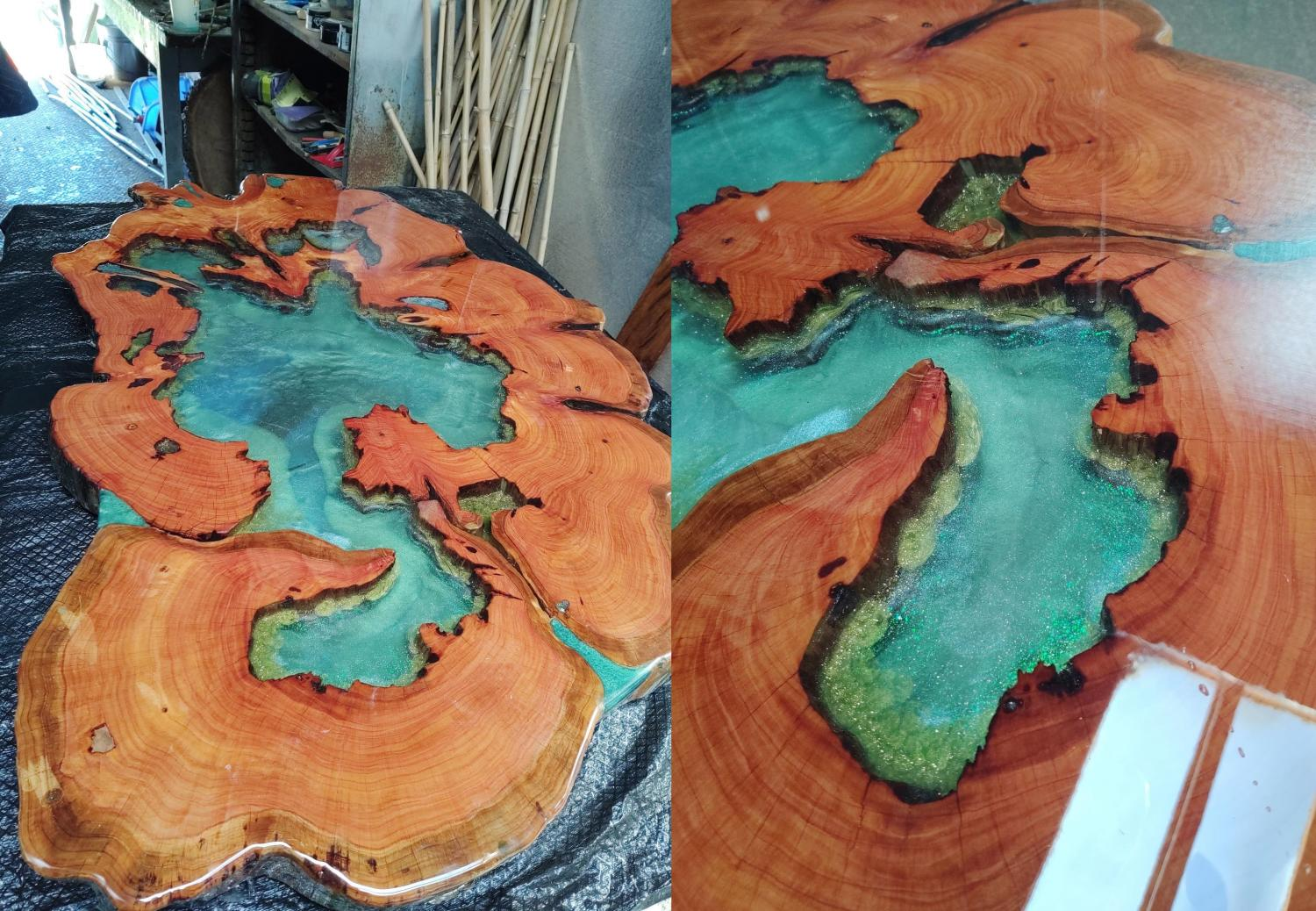 A stunning epoxy table made from a Monterey cypress slab made to look like a clear lake which you can see straight to the bottom