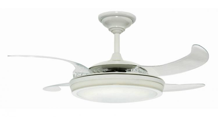 This ceiling fan has retractable blades when not in use hunter fanaway retractable blades ceiling fan aloadofball Images