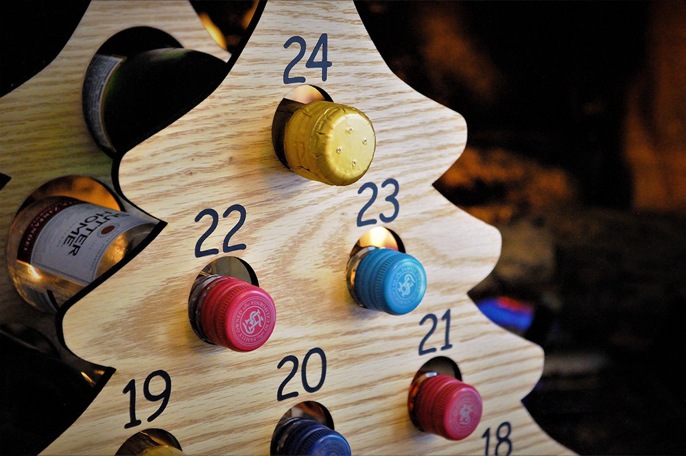 Christmas Tree Advent Calendar Holds Mini Bottles Of Wine