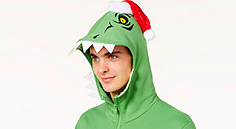 Dinosaur Hoodie Has Little T-Rex Arms That Protrude From The Chest - Holiday Dino Hoodie with t-rex hands